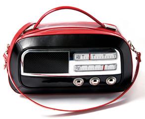 Vintage radio imitation bicolor leather purse