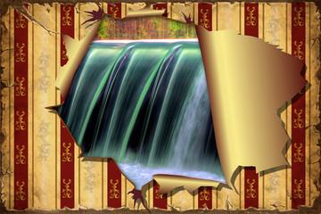 3D Aufgerissene Tapete - Wasserfall