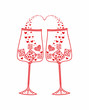 Abstract wine glasses with hearts.love