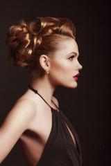 Fashion Woman Profile Portrait. Stylish Makeup.