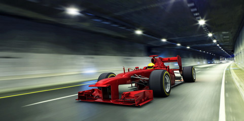 red racecar in a tunnel