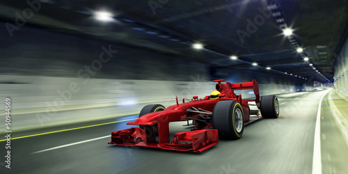 Deurstickers F1 red racecar in a tunnel