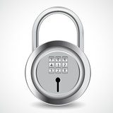 vector illustration of combination padlock