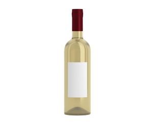 Weinflasche Beige Kappe rot mit Etikett schmal