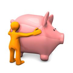 Manikin Likes Piggy Bank