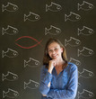 Business woman, student or teacher with chalk fish Christianity