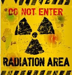 Radiation area warning, vector illustration