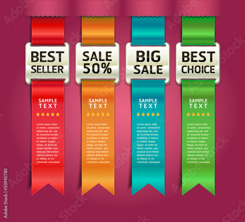 Retro Color Medals with Ribbon Style Number Banner