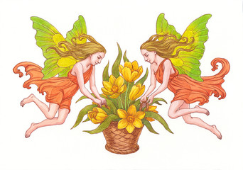 Эльфы с цветами. Акварель.