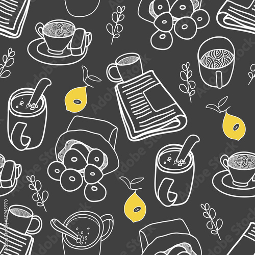 Coffee tea and sweets seamless pattern