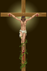 vector illustration of Jesus Christs on cross