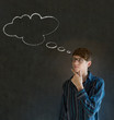 Man with thought thinking chalk cloud