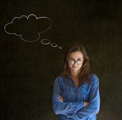 Woman with thought thinking chalk cloud