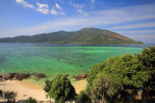 Aerial view of beach and turquoise crystal sea at Koh Lipe