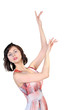 Young  attractive brunette with hands raised up
