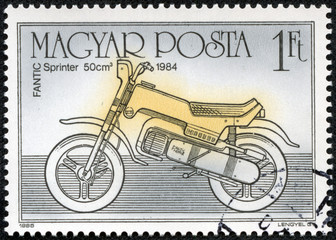stamp printed in Hungary shows Fantic Sprinter 50cm 1984