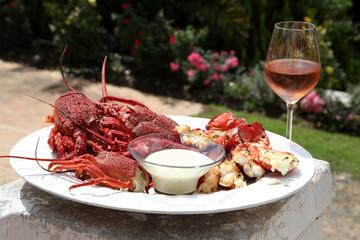 Crayfish and wine