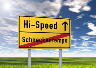 """Ortsschild """"Hi-Speed / Schneckentempo"""""""