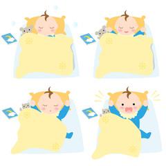 布団で眠る赤ちゃん お昼寝 男の子