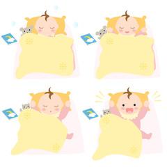 布団で眠る赤ちゃん お昼寝 女の子