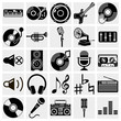 Vector Black Music Icons Set O...