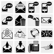 Envelope, communication, plane, shopping vector icons