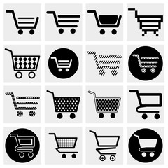 Collection of vector shopping cart vector icons set.