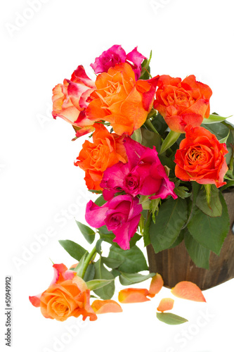 bouquet  of  fresh pink and orange roses
