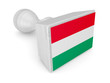 Wooden stamp with hungarian flag.
