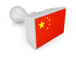 Wooden stamp with chinees flag.