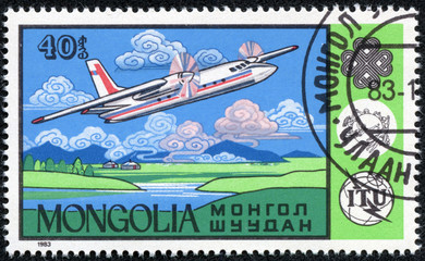 stamp printed in Mongolia showing airplane
