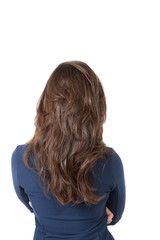 back view of a girl,isolated on white background