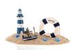 Coast with lighthouse ans fishing boat