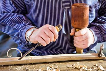 Gouge wood chisel carpenter tool. Work Of Artist.