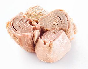conserved tuna fish on white