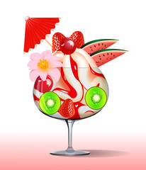 ice cream with strawberry kiwi, cherry tree and flower