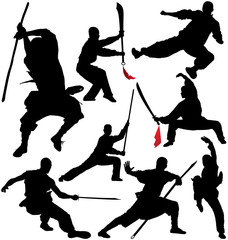 Kung fu, shaolin vector silhouettes. Layered and fully editable