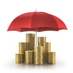 Goldmünzen mit rotem Schirm