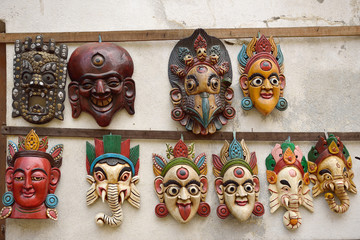 Nepali masks on display in the markets in  Nepal