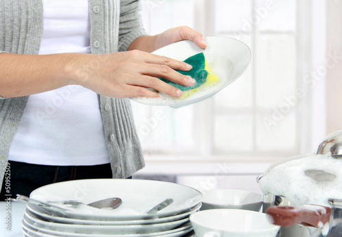 washing dishes