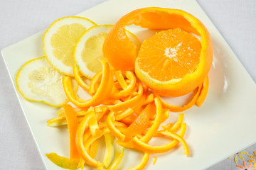 orange and lemon peeled
