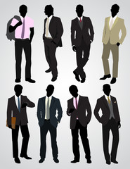 Eight businessman silhouettes