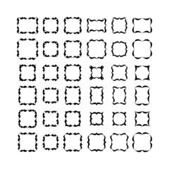 Set of black frameworks isolated on white background