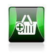 shopping cart black and green square web glossy icon