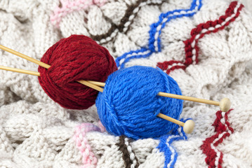 Red and blue threads