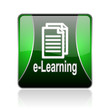 e-learning black and green square web glossy icon