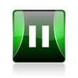 pause black and green square web glossy icon