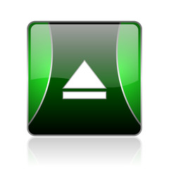 network black and green square web glossy icon