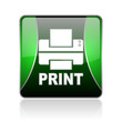 print black and green square web glossy icon