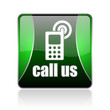 call us black and green square web glossy icon